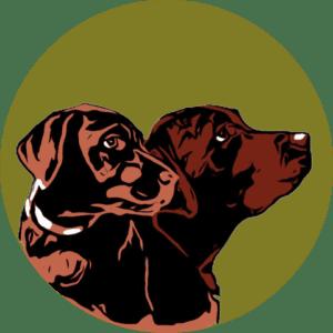 Rundes Logo mit zwei Labrador Köpfen